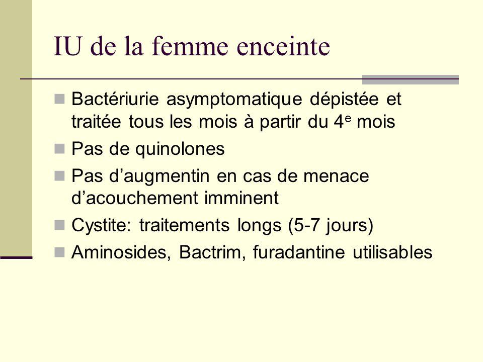 IU de la femme enceinte Bactériurie asymptomatique dépistée et traitée tous les mois à partir du 4e mois.