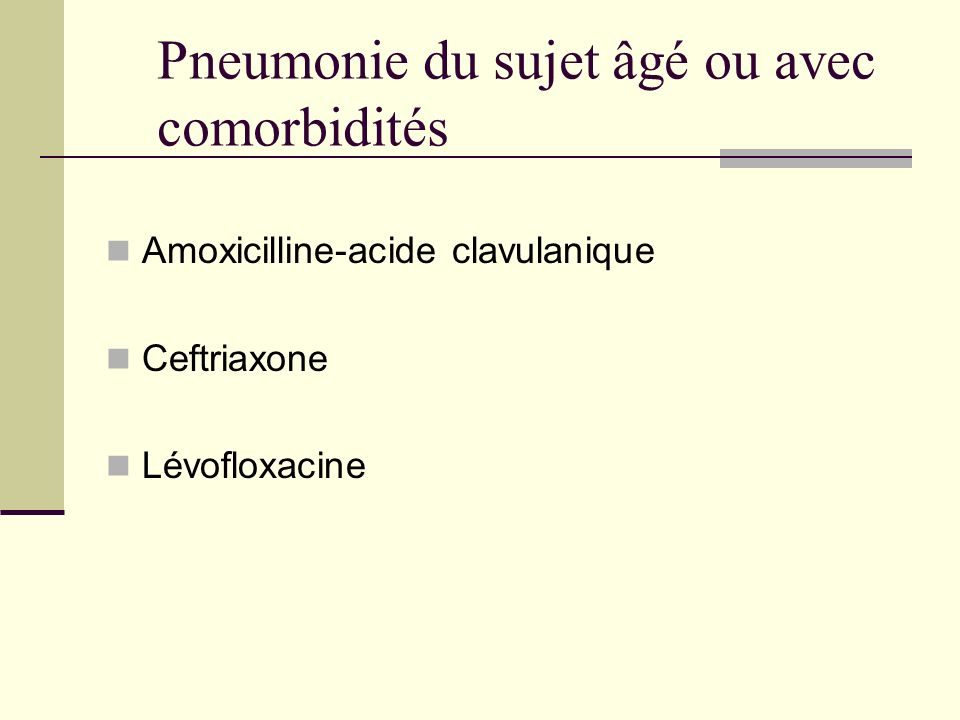 Pneumonie du sujet âgé ou avec comorbidités