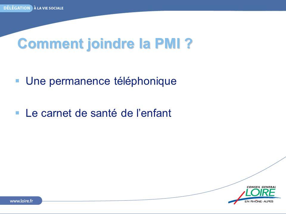 Comment joindre la PMI Une permanence téléphonique