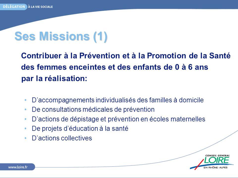 Ses Missions (1) Contribuer à la Prévention et à la Promotion de la Santé. des femmes enceintes et des enfants de 0 à 6 ans.