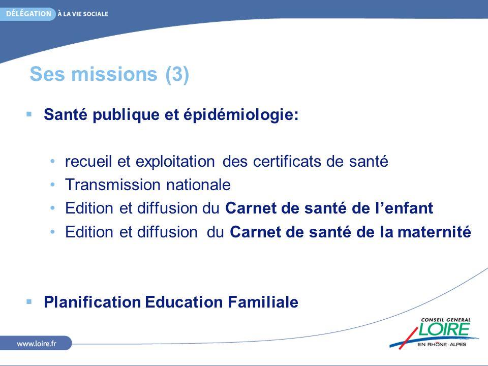 Ses missions (3) Santé publique et épidémiologie: