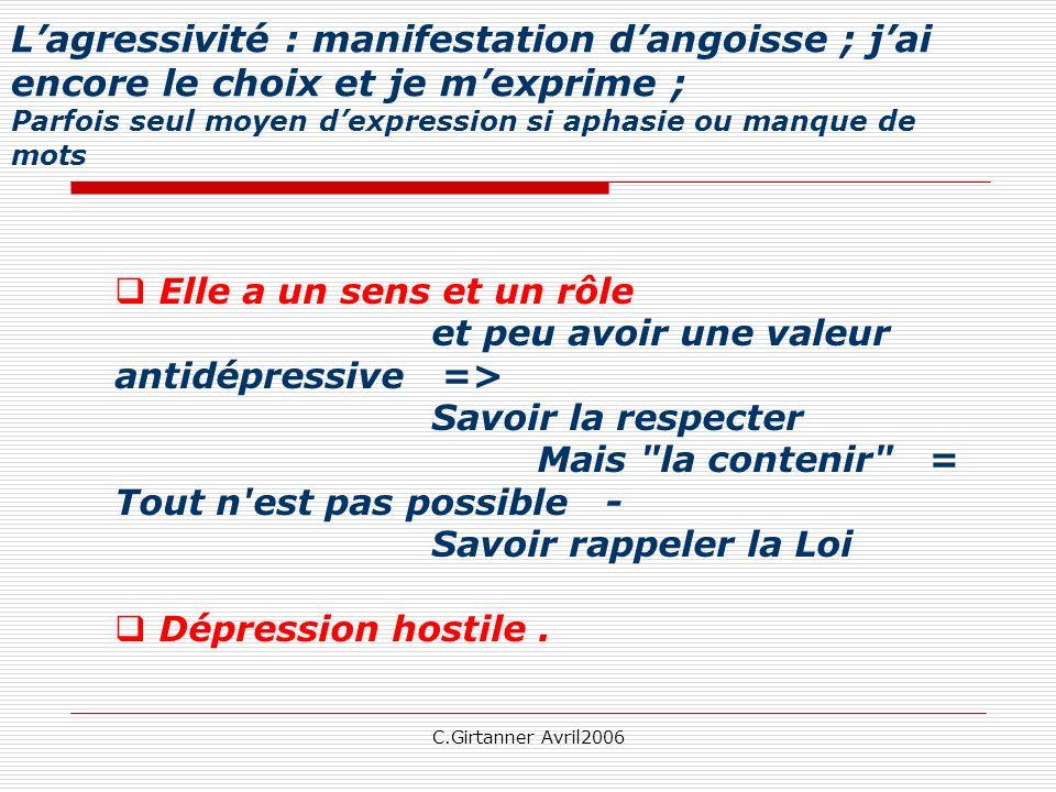 L'agressivité : manifestation d'angoisse ; j'ai encore le choix et je m'exprime ; Parfois seul moyen d'expression si aphasie ou manque de mots
