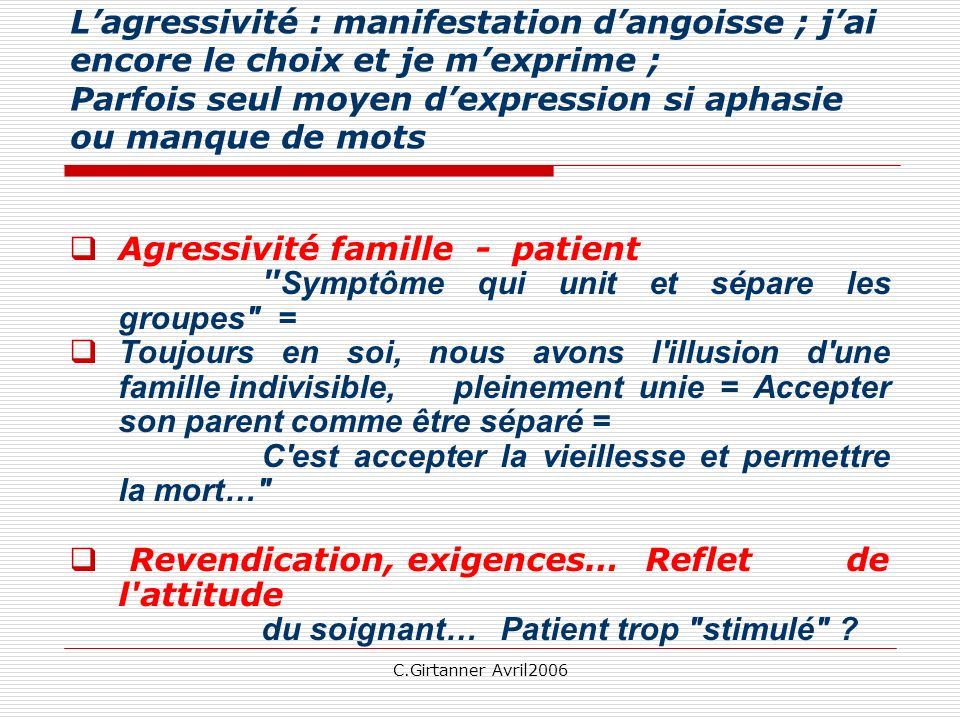 Agressivité famille - patient