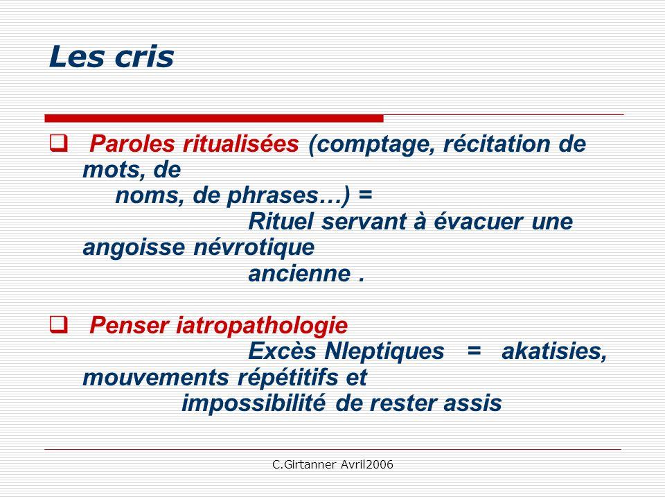 Les cris Paroles ritualisées (comptage, récitation de mots, de noms, de phrases…) =