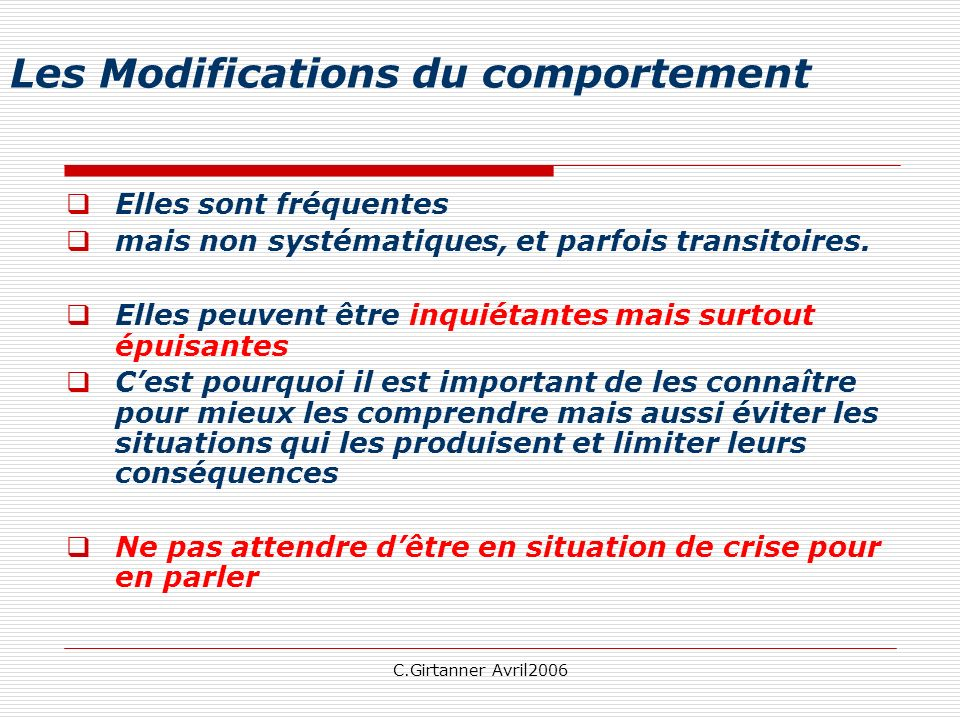 Les Modifications du comportement