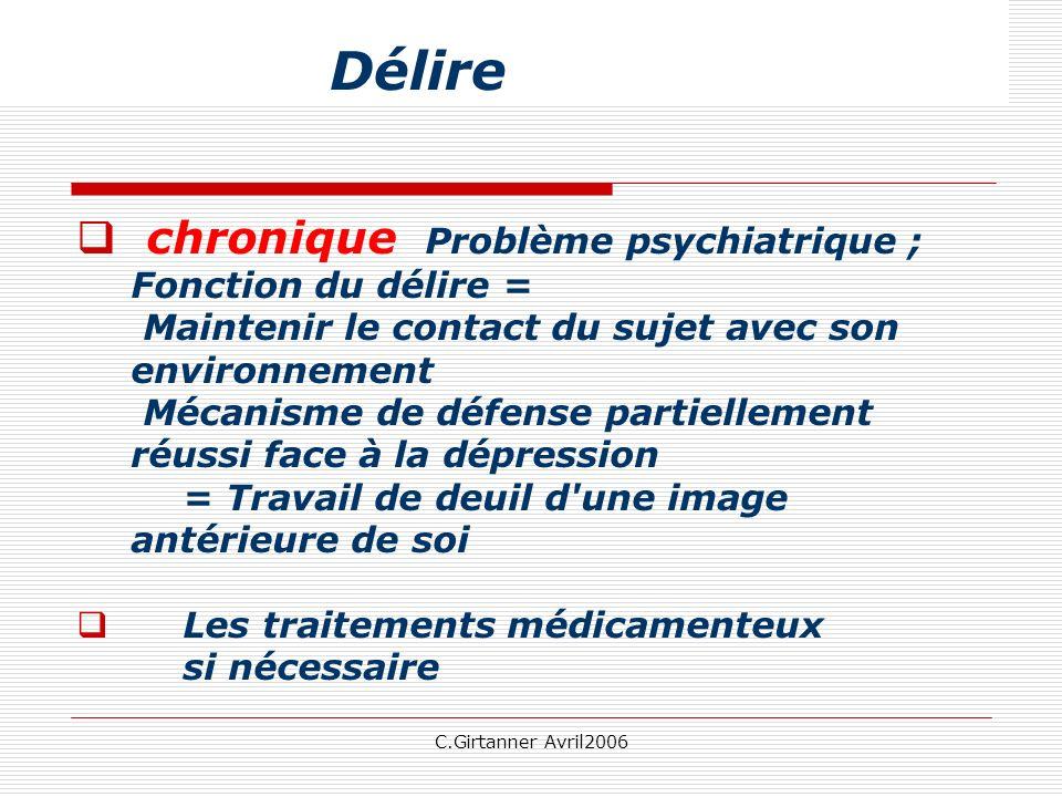 Délire chronique Problème psychiatrique ; Fonction du délire =
