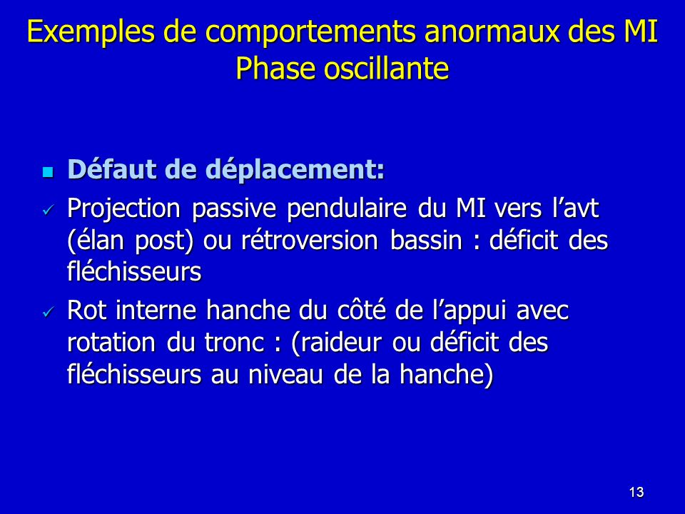 Exemples de comportements anormaux des MI Phase oscillante