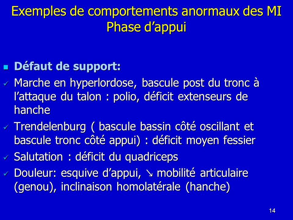 Exemples de comportements anormaux des MI Phase d'appui