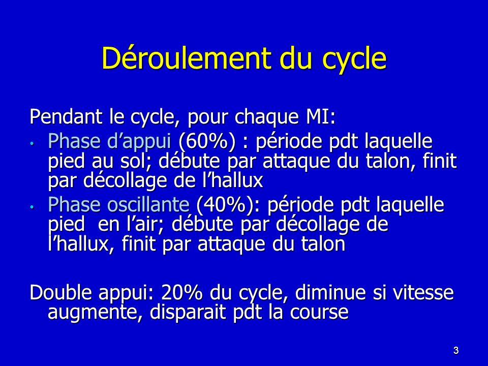 Déroulement du cycle Pendant le cycle, pour chaque MI: