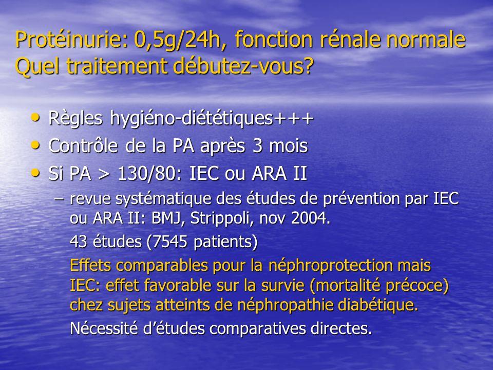 Protéinurie: 0,5g/24h, fonction rénale normale Quel traitement débutez-vous