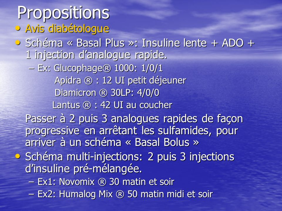 Propositions Avis diabétologue