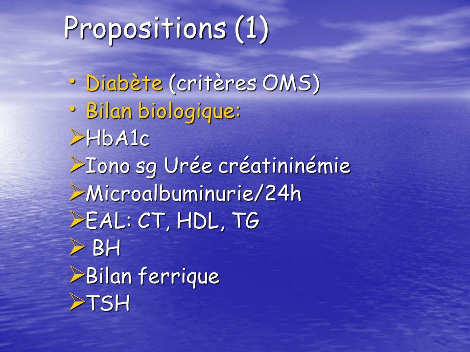 Propositions (1) Diabète (critères OMS) Bilan biologique: HbA1c