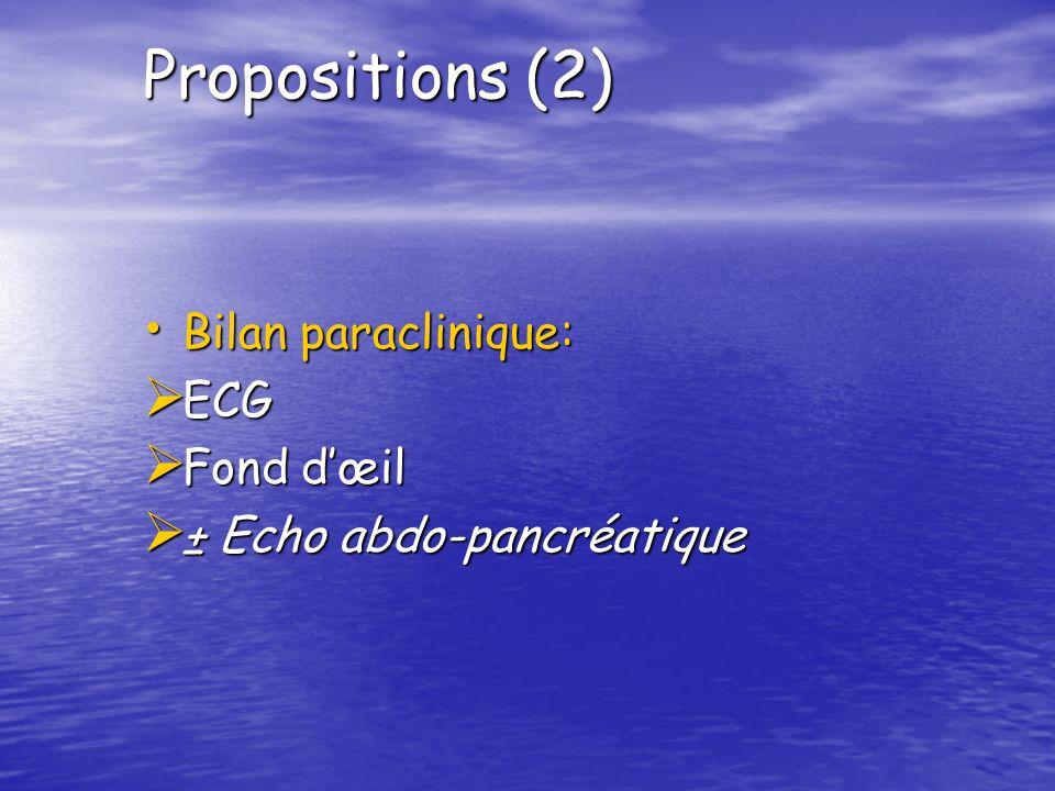 Propositions (2) Bilan paraclinique: ECG Fond d'œil