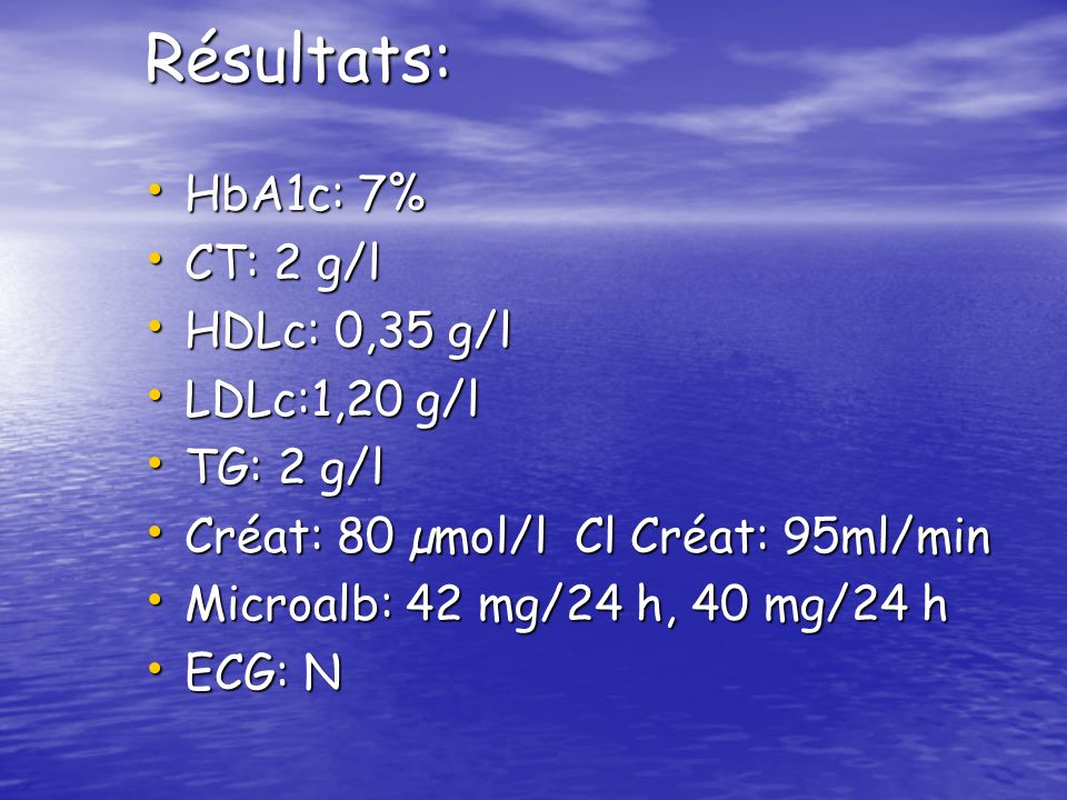 Résultats: HbA1c: 7% CT: 2 g/l HDLc: 0,35 g/l LDLc:1,20 g/l TG: 2 g/l