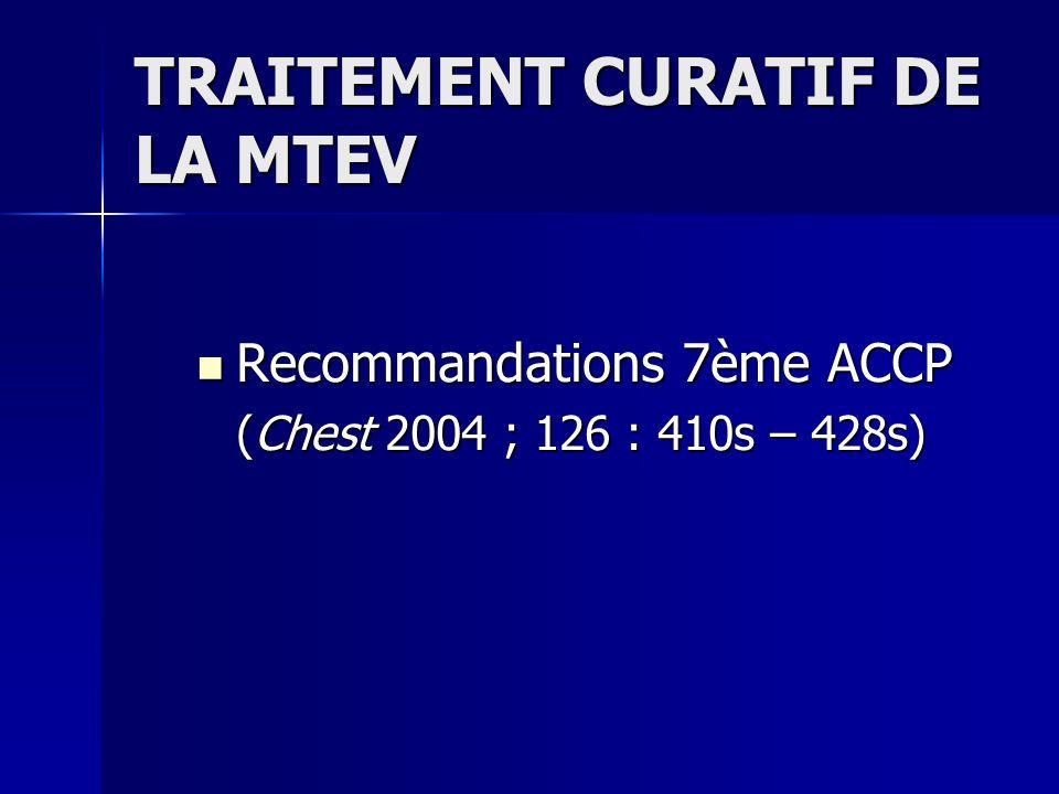 TRAITEMENT CURATIF DE LA MTEV
