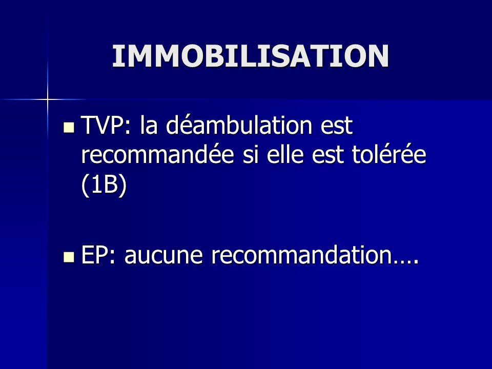 IMMOBILISATION TVP: la déambulation est recommandée si elle est tolérée (1B) EP: aucune recommandation….