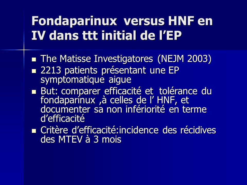 Fondaparinux versus HNF en IV dans ttt initial de l'EP