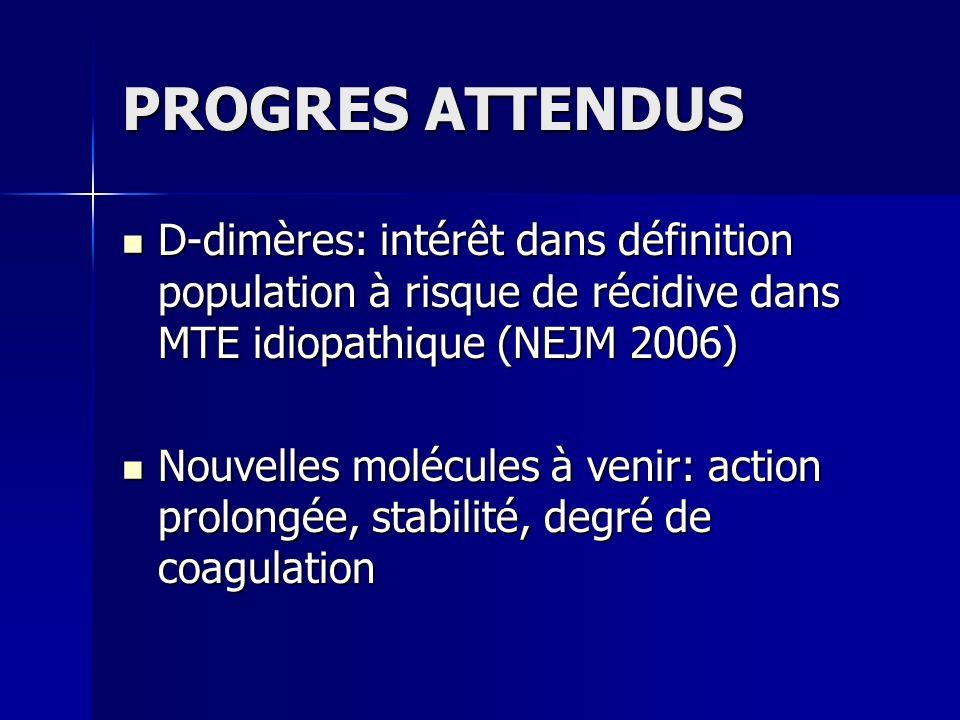 PROGRES ATTENDUS D-dimères: intérêt dans définition population à risque de récidive dans MTE idiopathique (NEJM 2006)
