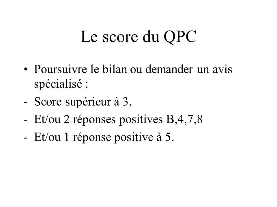 Le score du QPC Poursuivre le bilan ou demander un avis spécialisé :