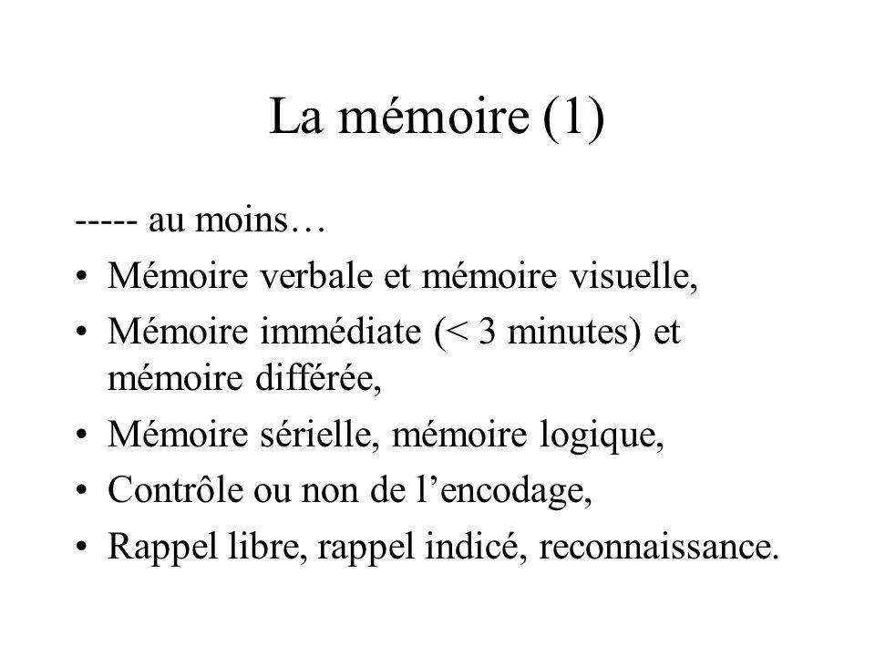 La mémoire (1) ----- au moins… Mémoire verbale et mémoire visuelle,