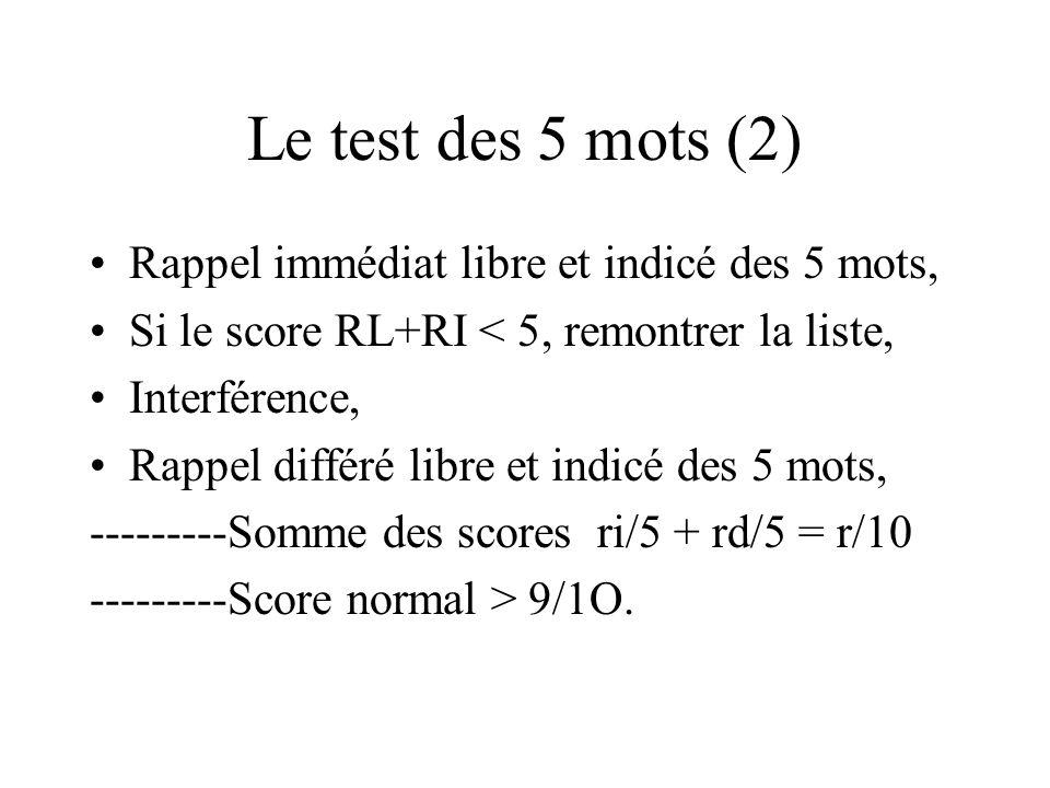 Le test des 5 mots (2) Rappel immédiat libre et indicé des 5 mots,