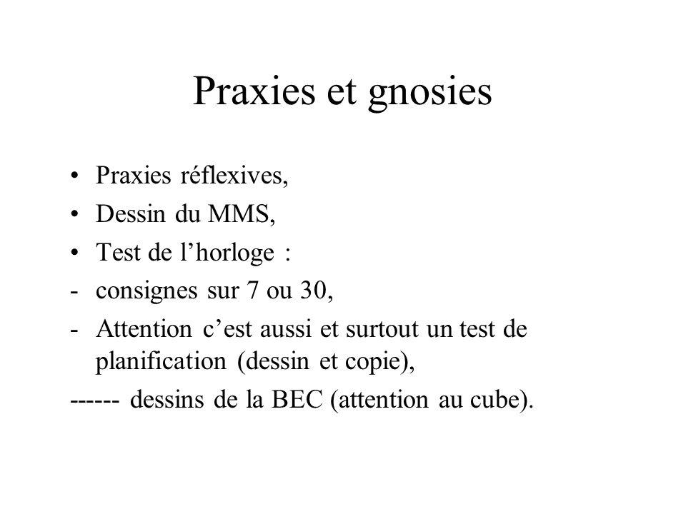 Praxies et gnosies Praxies réflexives, Dessin du MMS,