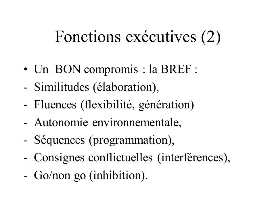 Fonctions exécutives (2)