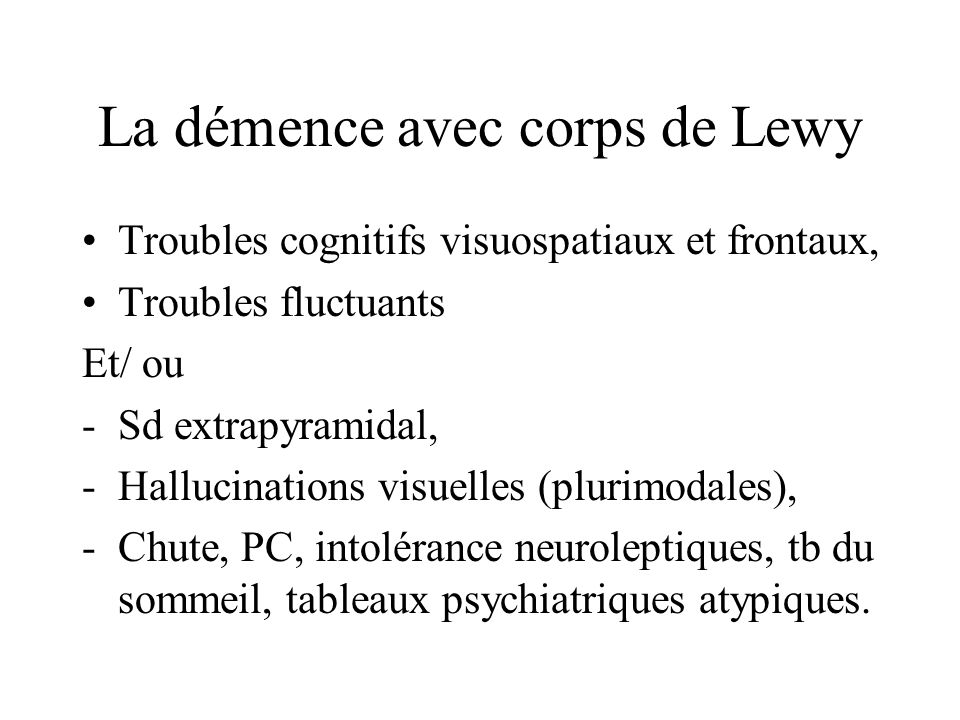 La démence avec corps de Lewy