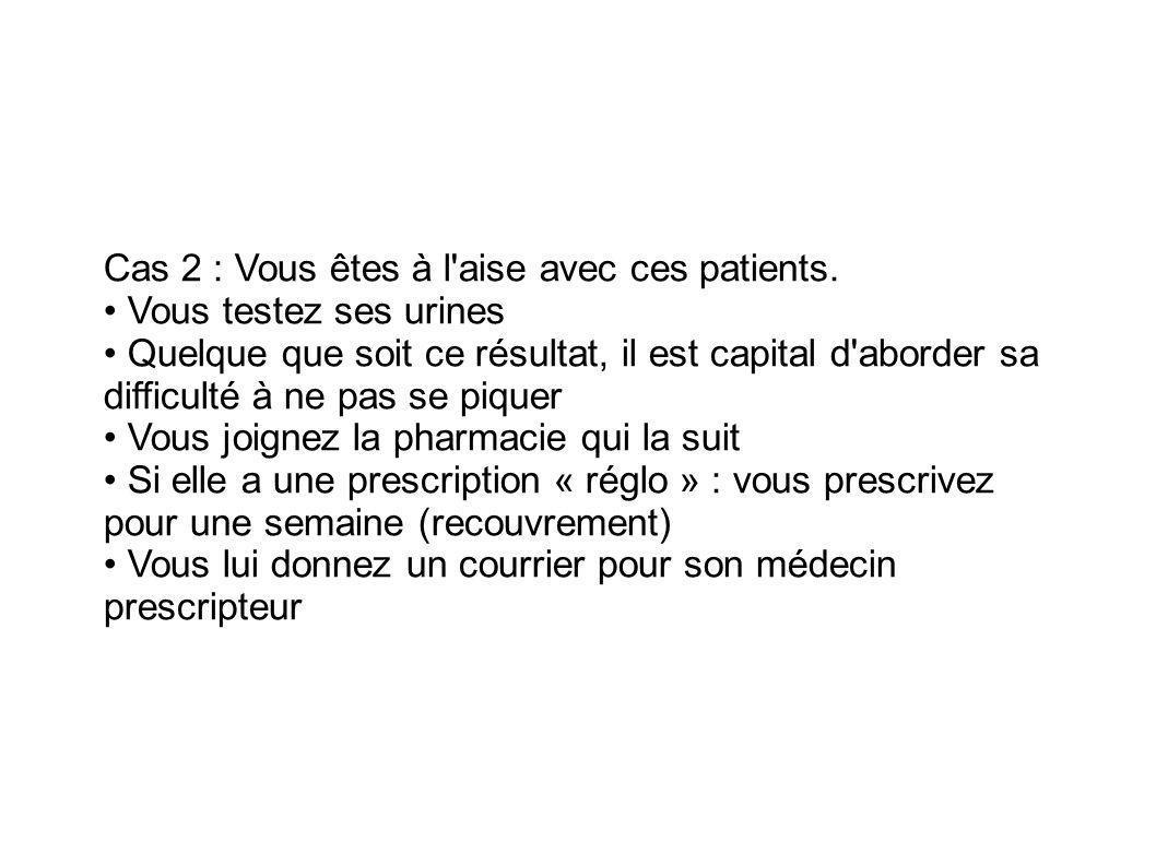 Cas 2 : Vous êtes à l aise avec ces patients. • Vous testez ses urines