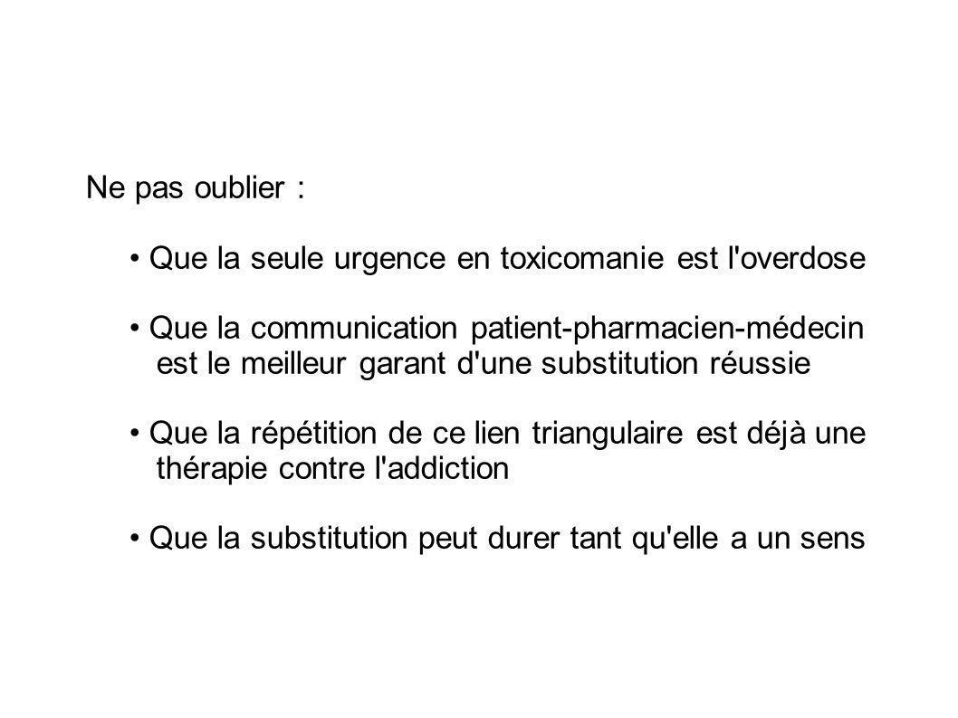 Ne pas oublier : • Que la seule urgence en toxicomanie est l overdose.