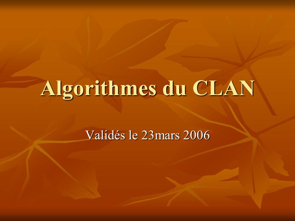 Algorithmes du CLAN Validés le 23mars 2006