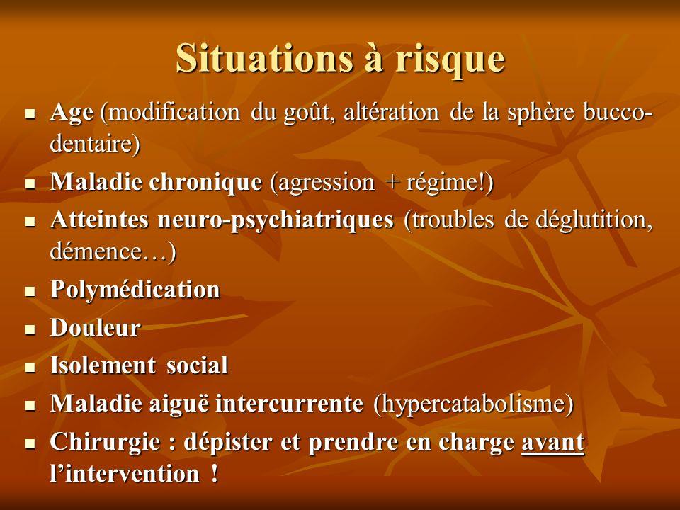Situations à risque Age (modification du goût, altération de la sphère bucco-dentaire) Maladie chronique (agression + régime!)