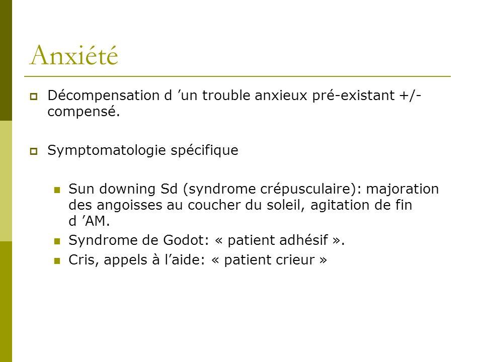 Anxiété Décompensation d 'un trouble anxieux pré-existant +/- compensé. Symptomatologie spécifique.