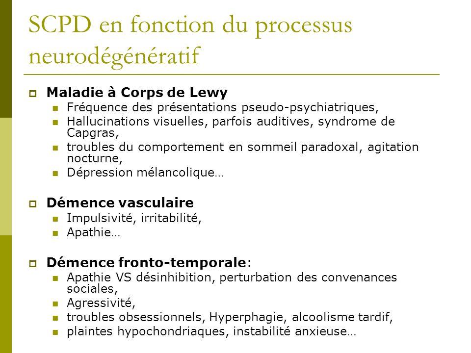 SCPD en fonction du processus neurodégénératif