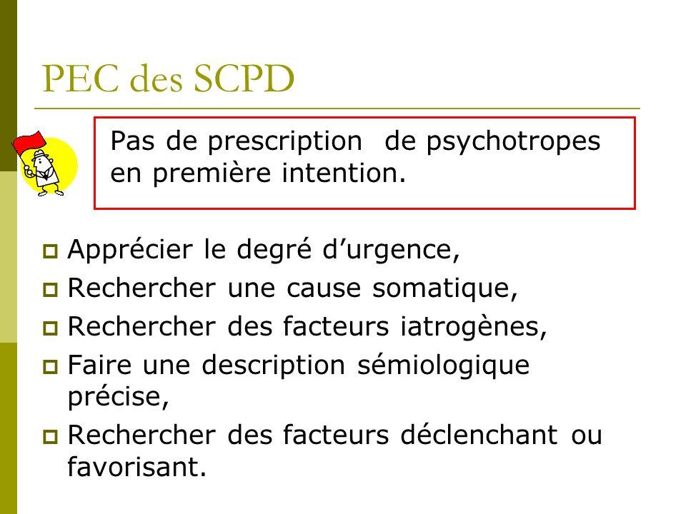 PEC des SCPD Pas de prescription de psychotropes en première intention. Apprécier le degré d'urgence,