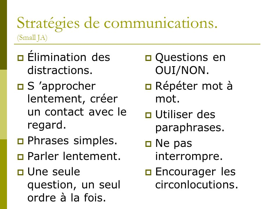 Stratégies de communications. (Small JA)