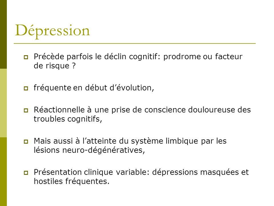 Dépression Précède parfois le déclin cognitif: prodrome ou facteur de risque fréquente en début d'évolution,