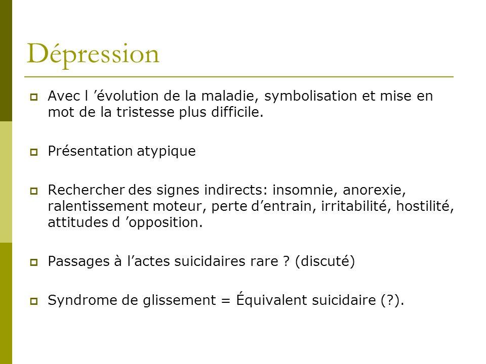 Dépression Avec l 'évolution de la maladie, symbolisation et mise en mot de la tristesse plus difficile.