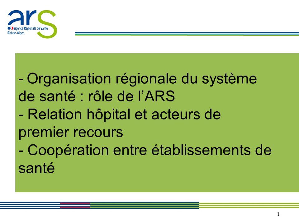 - Organisation régionale du système de santé : rôle de l'ARS - Relation hôpital et acteurs de premier recours - Coopération entre établissements de santé