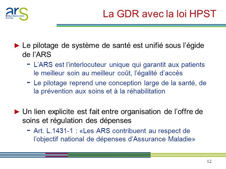 La GDR avec la loi HPST ► Le pilotage de système de santé est unifié sous l'égide de l'ARS.