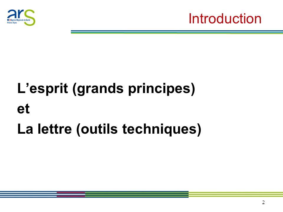 Introduction L'esprit (grands principes) et La lettre (outils techniques)