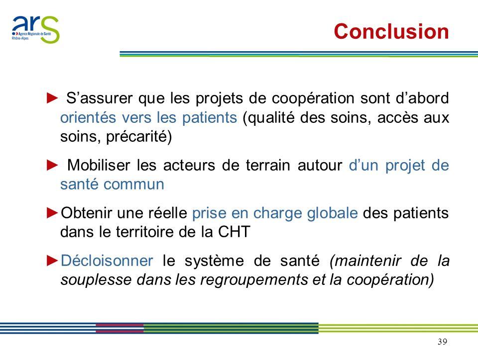 Conclusion ► S'assurer que les projets de coopération sont d'abord orientés vers les patients (qualité des soins, accès aux soins, précarité)