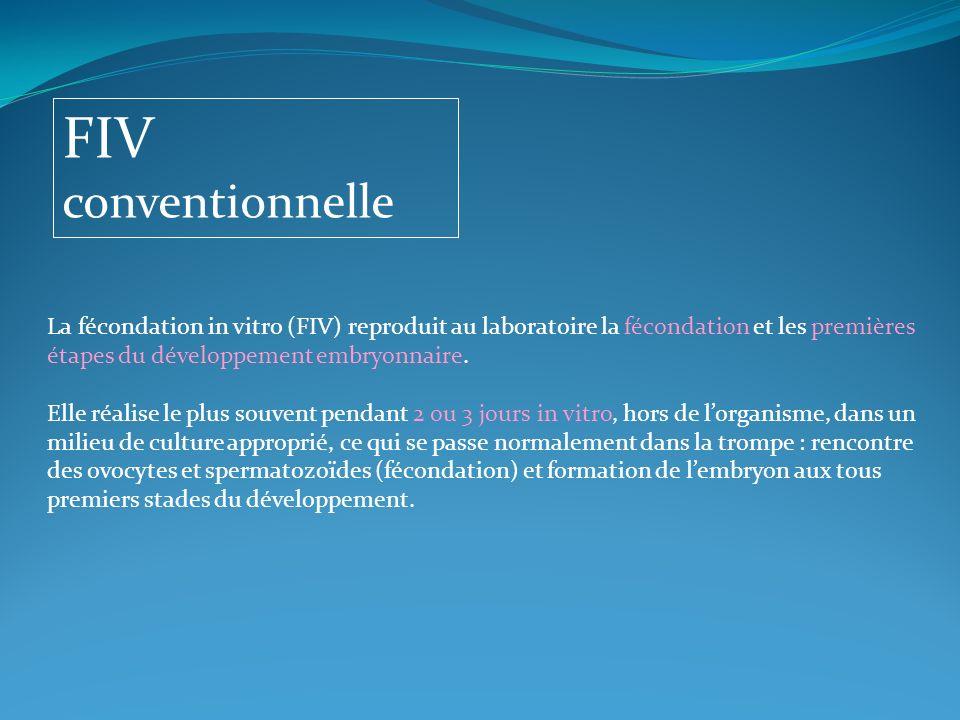 FIV conventionnelle La fécondation in vitro (FIV) reproduit au laboratoire la fécondation et les premières étapes du développement embryonnaire.