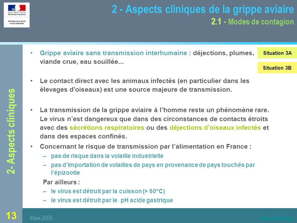 2 - Aspects cliniques de la grippe aviaire 2.1 - Modes de contagion