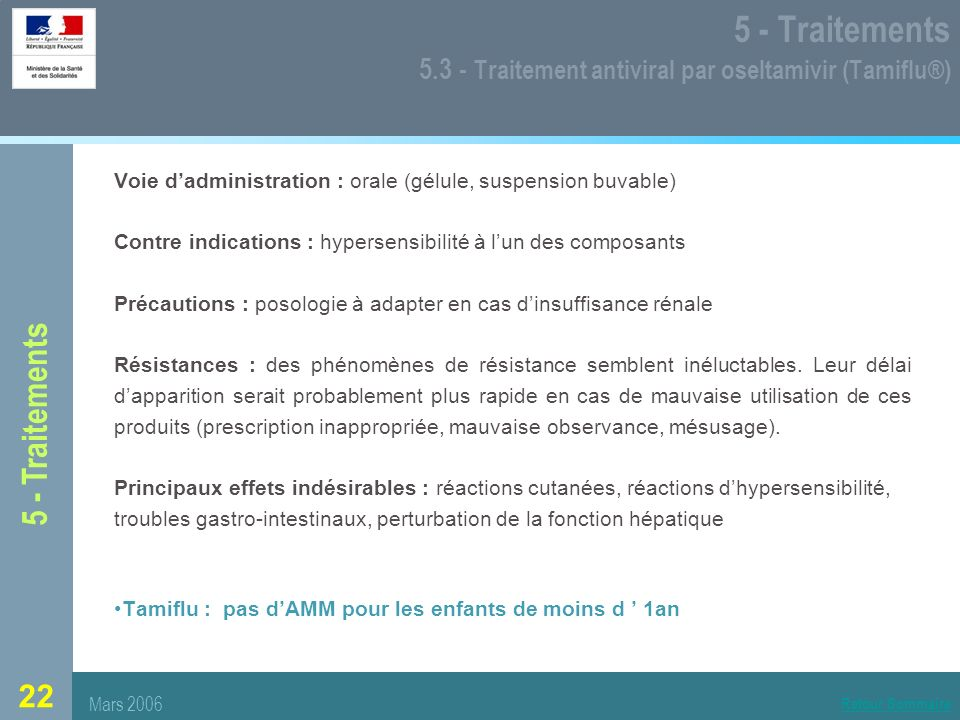 5 - Traitements 5.3 - Traitement antiviral par oseltamivir (Tamiflu®)