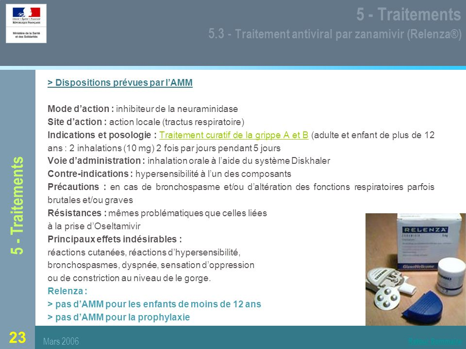 5 - Traitements 5.3 - Traitement antiviral par zanamivir (Relenza®)