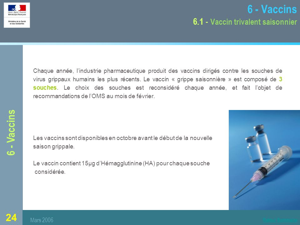 6 - Vaccins 6.1 - Vaccin trivalent saisonnier