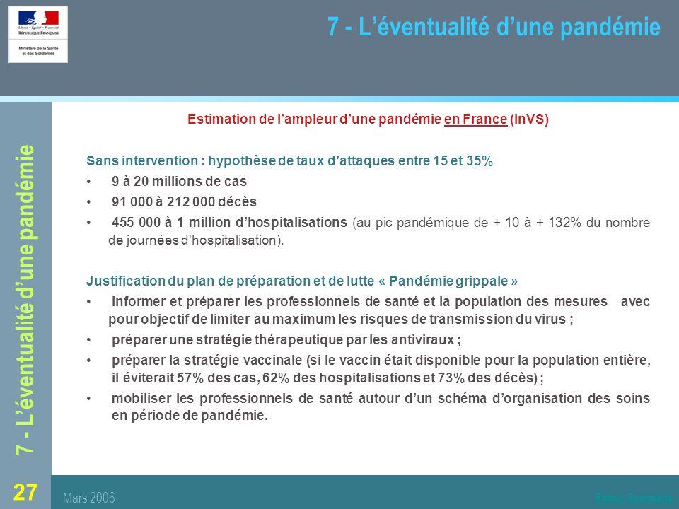 7 - L'éventualité d'une pandémie