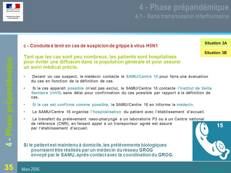4 - Phase prépandémique 4.1 - Sans transmission interhumaine