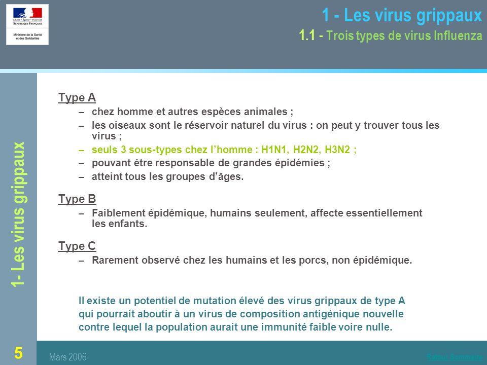 1 - Les virus grippaux 1.1 - Trois types de virus Influenza